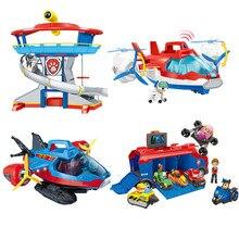 Pata patrulha missão cruiser resgate ônibus aeronaves base de resgate torre mar resgate iate figuras de ação modelo cães conjunto brinquedos crianças presente