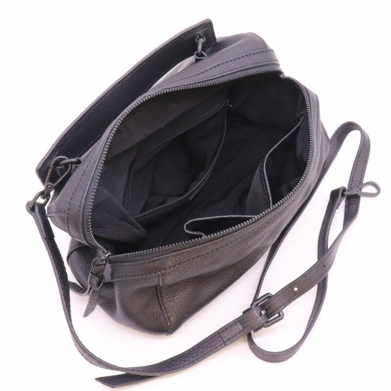 Mesoul 100% sac à main en cuir véritable femmes sac à bandoulière Portable femme mode sacs à bandoulière dames fermeture éclair petit sac fourre-tout sac à main - 4