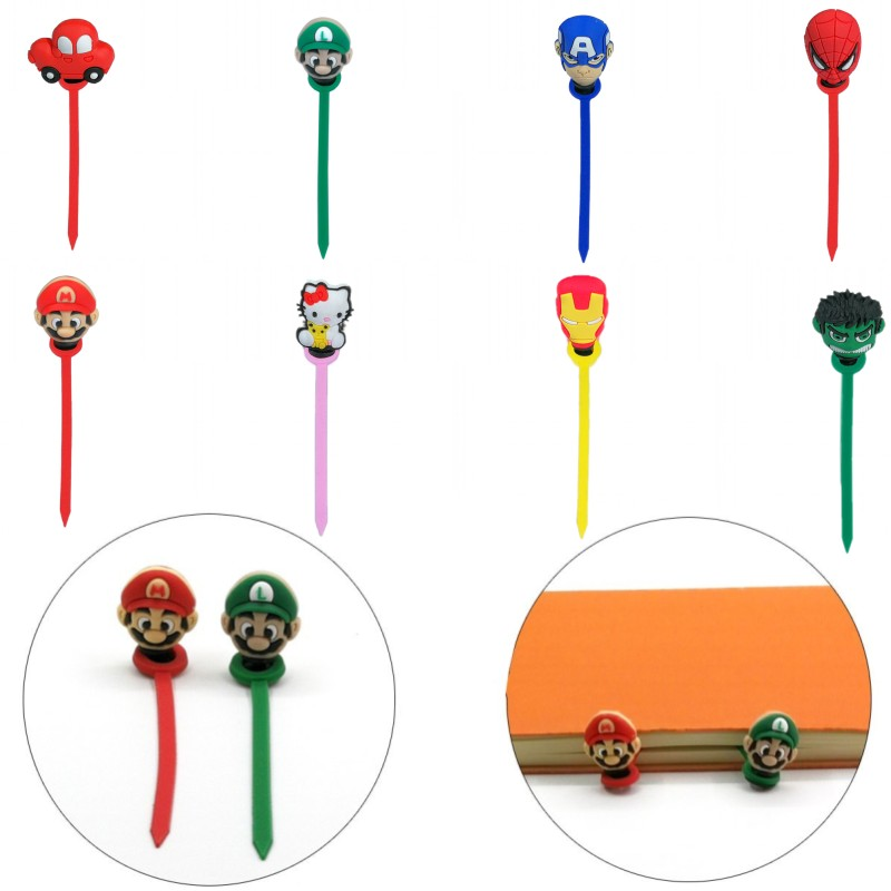 1pcs Mario Avenger 3D PVC Bookmarks For Book Paper Clips School Office Supply Page Holder For Teacher Students Kids Gift
