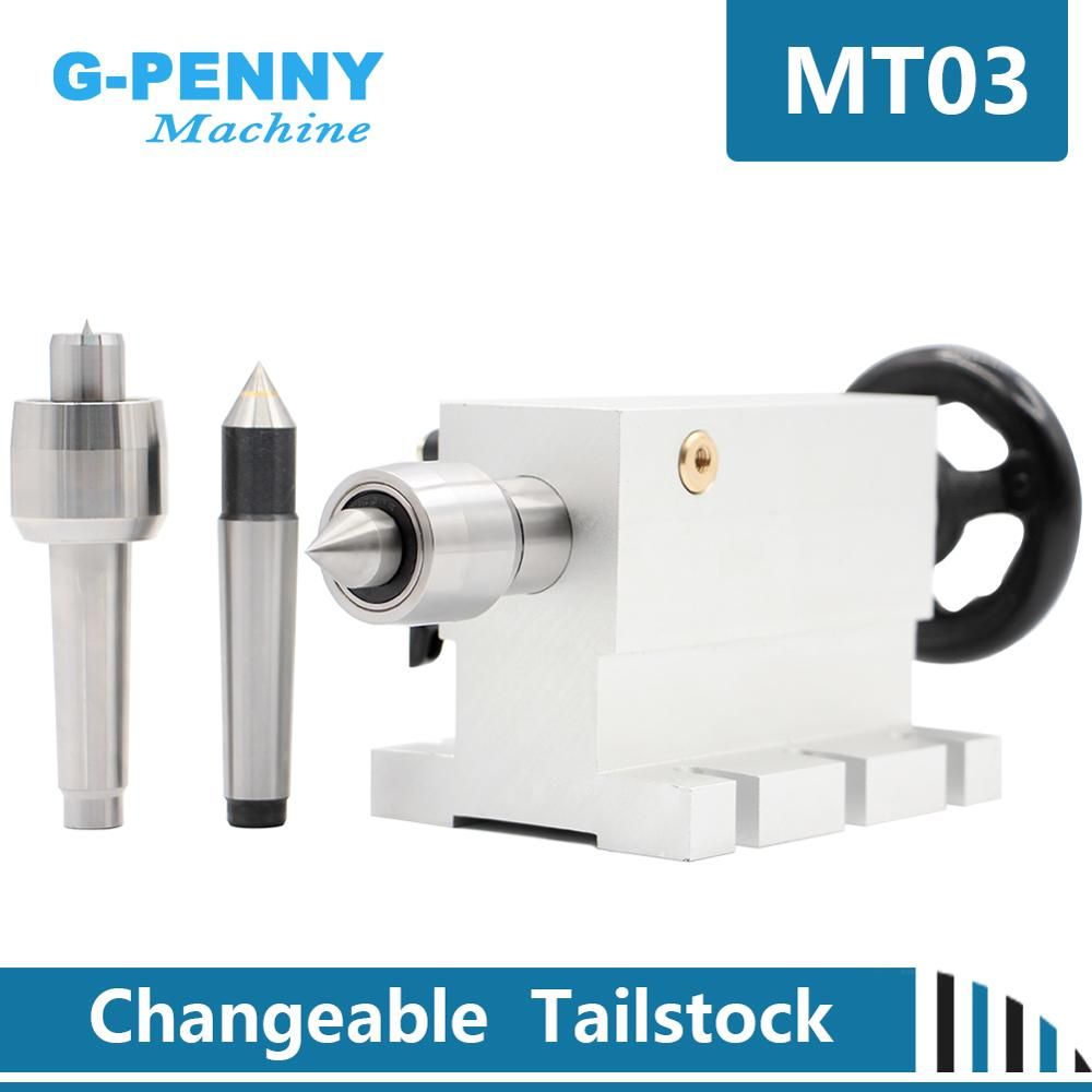 New Design Movable And Changeable Tailstock With Three Heads Work With Rotary Axis A Axis 4th Axis MT2 For CNC Engraving Machine