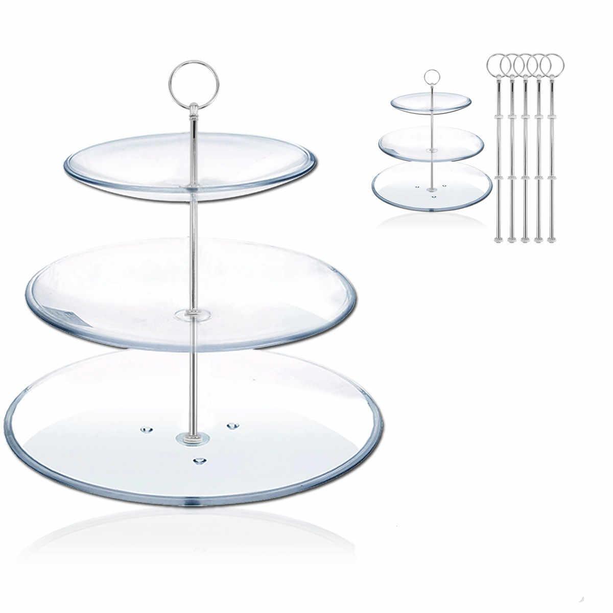 5pcs 3 Tiers Rotondo Impilati Partito Cupcake Stand Torta di Visualizzazione Supporto A File Cupcake Torre (Argento)
