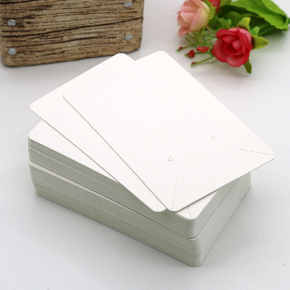 100pcs Anti-lost Earrings Hanging Necklace Organizer Eco-friendly Jewelry Tag Holder Paper Packing Display Cards Solid Portable