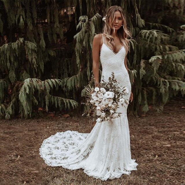 Boho Mermaid Wedding Dress Lace Spaghetti Straps Backless Beach Bride Dresses Sexy Bohemian Bridal Gown Vestido De Noiva Elegant 1