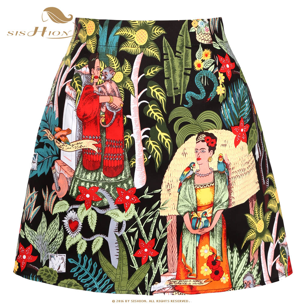 SISHION Mini Skirts Womens Faldas Mujer Moda 2019 Ss0008 Black Floral Print Short Sexy A Line Skirts