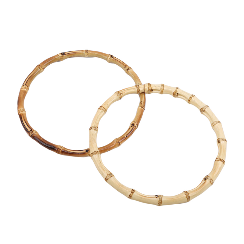 2 X Round Bamboo Bag Handle For Handcrafted Handbag DIY Bags Accessories Good Quality 15x15cm