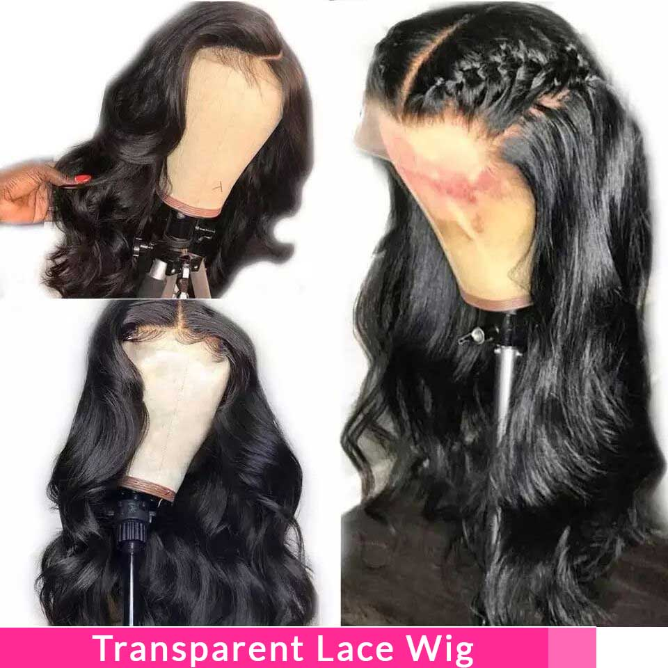 13x4 Transparent Lace Wig Glueless Lace Front Human Hair Wigs Non Remy Brazilian Body Wave 150 Density Lace Wigs Pre Plucked
