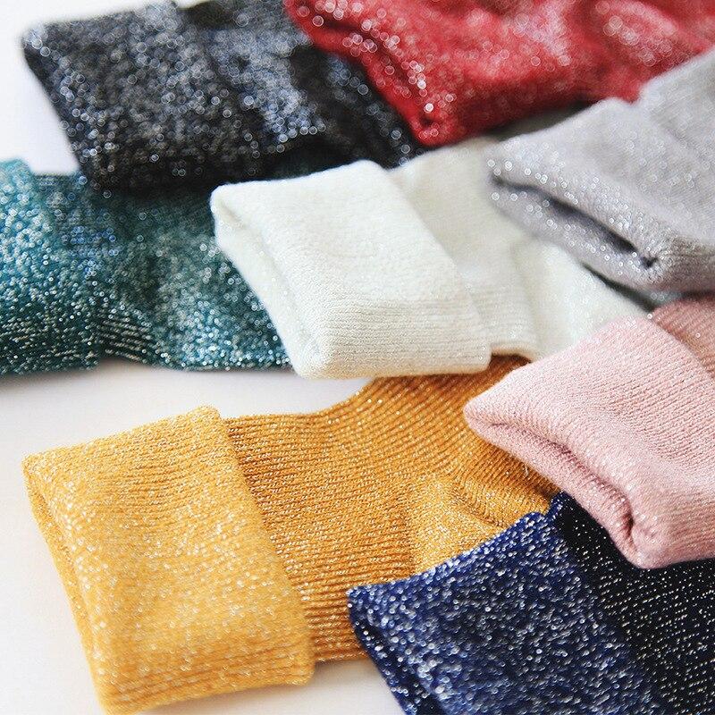 Зимние хлопковые однотонные блестящие Женские Простые Носки, модные женские студенческие плотные теплые носки со складками, модные блестя...