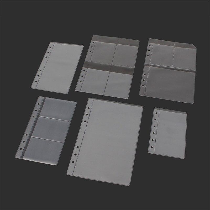 10PCS A5 / A6 / B7 Thick 6-hole Transparent Information Bags Loose-leaf Storage Bag Card Bag DIY Loose-leaf Accessories Pouches