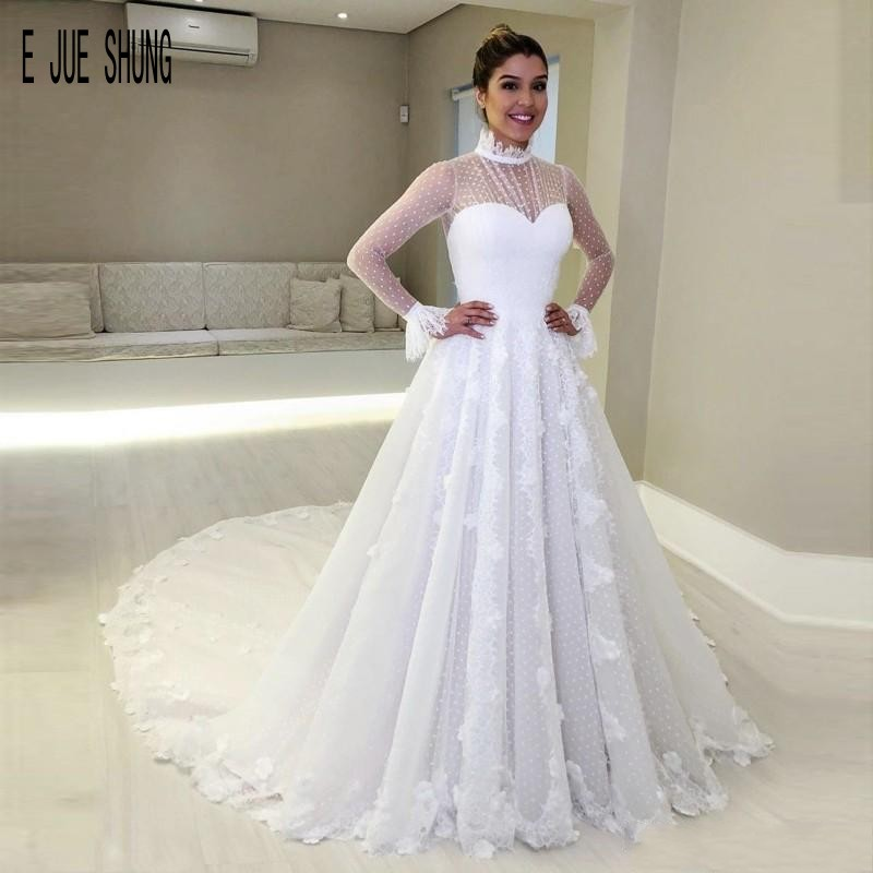 E JUE SHUNG Vintage Long Sleeves Arabic High Neck Wedding Dresses With Appliques  Lace Up Back Bridal Gowns Vestido De Novia