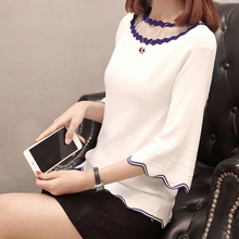 Plus Size Wave Line Knitted Pullover Tops 2020 Spring Women Fashion Loose Mesh Patchwork Chic T-shirt Flare Sleeve Ladies Tshirt