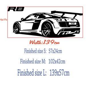 Image 2 - Özelleştirilebilir kişiselleştirilmiş adı R8 süper araba vinil duvar çıkartmaları spor araba meraklıları genç odası okul ev duvar çıkartması 2CE20