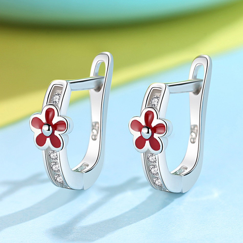 Christmas Gift 925 Silver Sterling Red Enamel Crystal Stud Earrings For Children Jewelry Small Ladybird Ladybug Earrings Kids