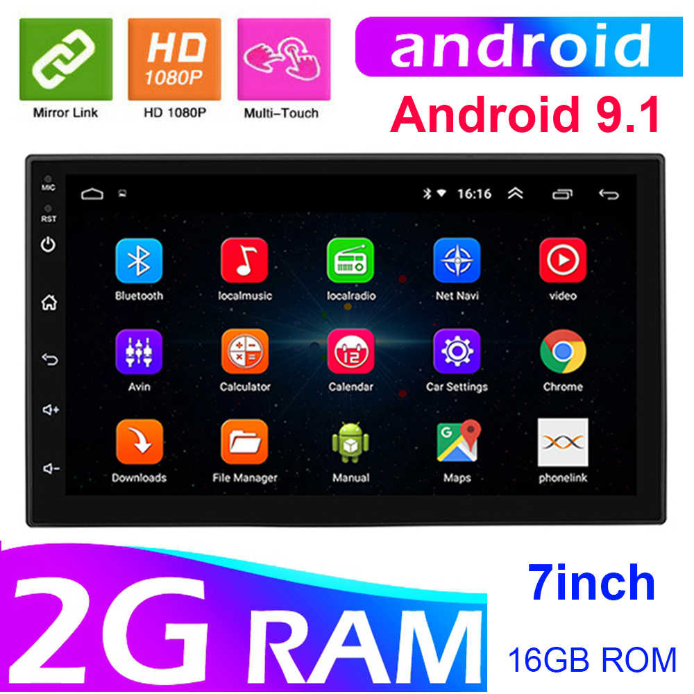 7 ''Android 9.1 Car Multimedia Stereo GPS 2 Din Untuk Toyota Peugeot Hyundai VW Golf 2din Auto Radio Vedio MP5 pemain Universal