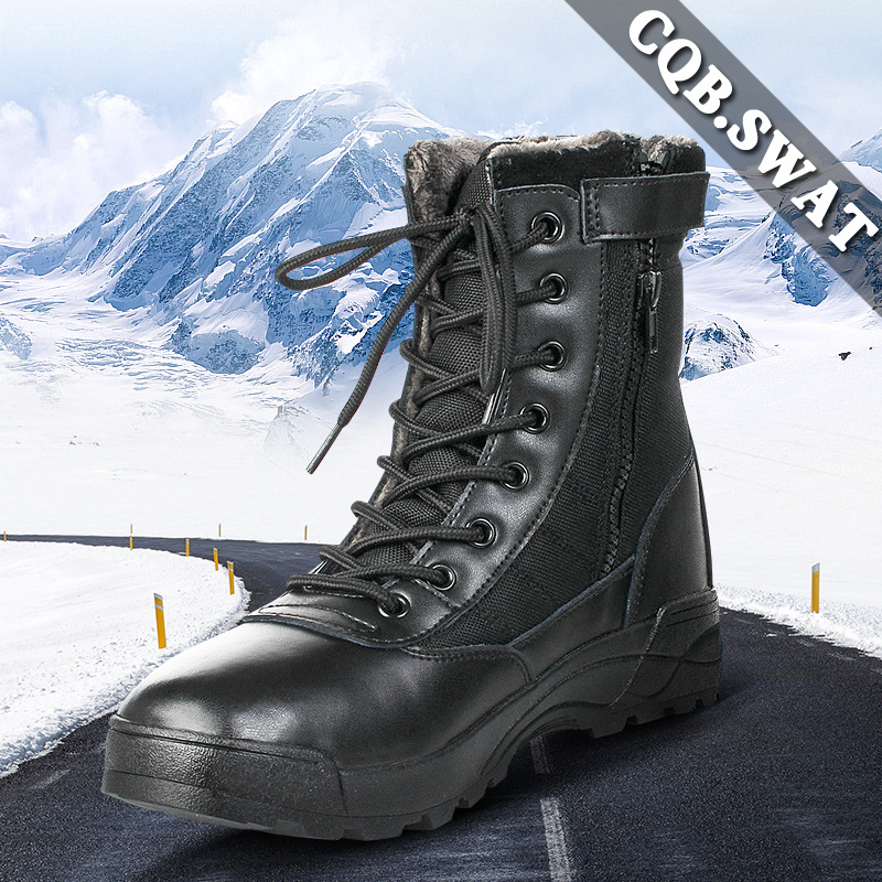 Manufacturers Direct Selling Amu Combat Boots Autumn And Winter Brushed And Thick Hight-top Combat Boots Warm Winter Boots Tacti