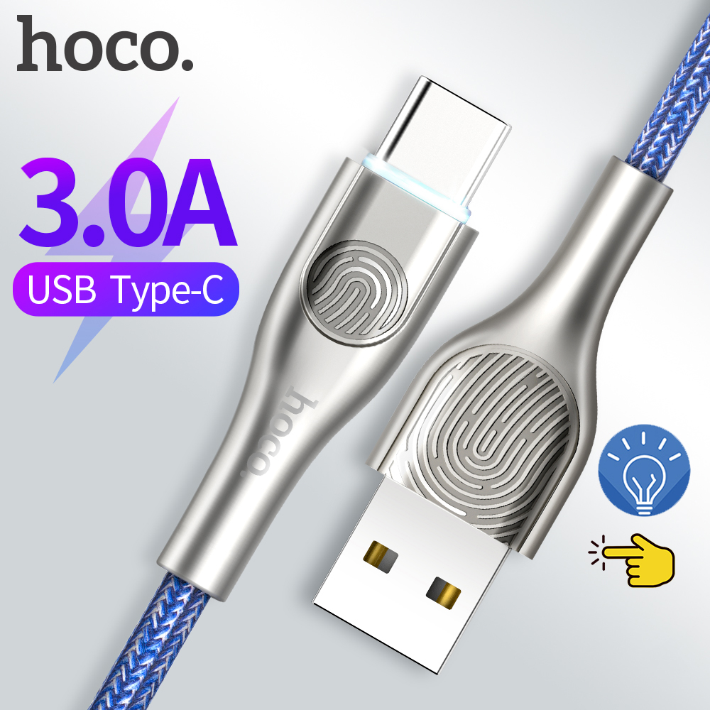 Hoco USB Type C Cable for USB C Mobile Phone Cable Fast Charging Type C Cable touch LED light for Samsung Galaxy S10 S9 Xiaomi 9|Mobile Phone Cables| |  - AliExpress
