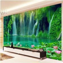 3D стерео обои в китайском стиле с водопадом, водопадом и водопадом, для гостиной, телевизора, Декорации для стен, домашний декор, пейзаж, настенная живопись