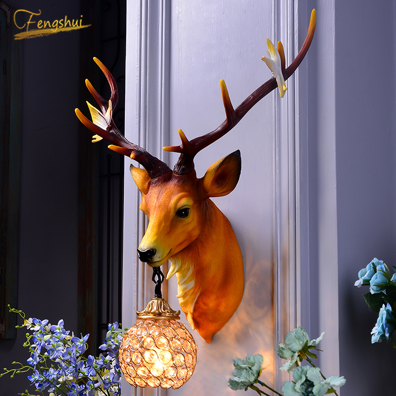 American Retro Art Lucrative Deer Horn Wall Lamp Modern Home Decor Wall Light Industrial Wall Sconce Lamp Dining Room Luminaria
