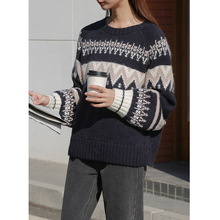 England Style Geometric Womens New Arrival Sweate