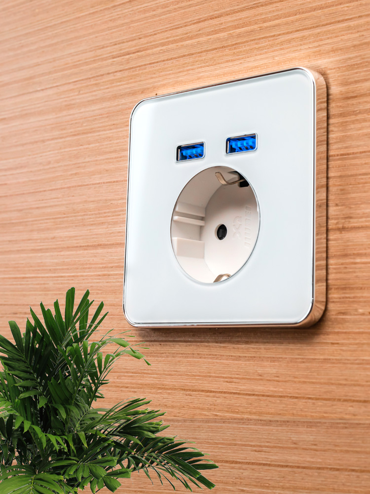 Adapter Charging-Socket Socket-Pow Glass-Panel Wall-Charger Eu-Plug Usb-Port Jiubei Crystal