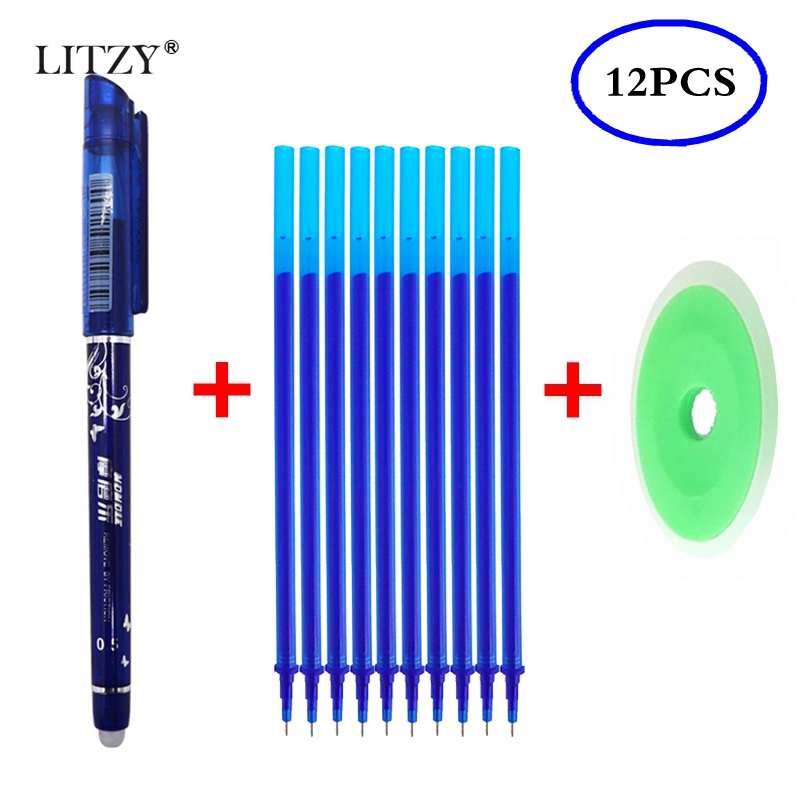 12 Pcs/Set Erasable Pen Refill Washable Handle Rod 0.5mm Blue/Black/Red Ink Gel Pen For School Office Writing Supply Stationery
