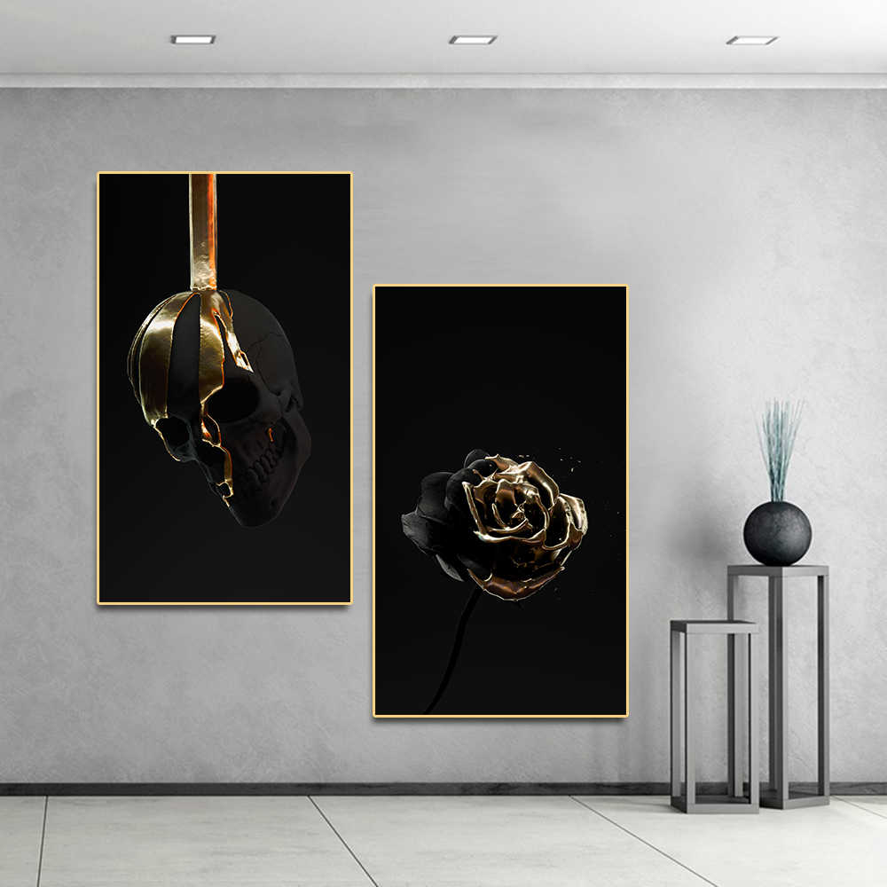 Poster Art White Gold Flower Skull Wall Art Picture Canvas Painting Posters on The Wall Decor for Home Living Room