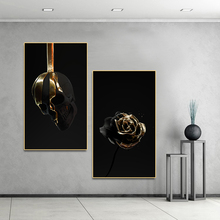 Poster Art White Gold Flower Skull Wall Picture Canvas Painting Posters on The Decor for Home Living Room