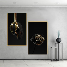 Poster Art White Gold Flower Skull Wall Art Picture Canvas Painting Posters on The Wall Decor for Home Living Room(China)