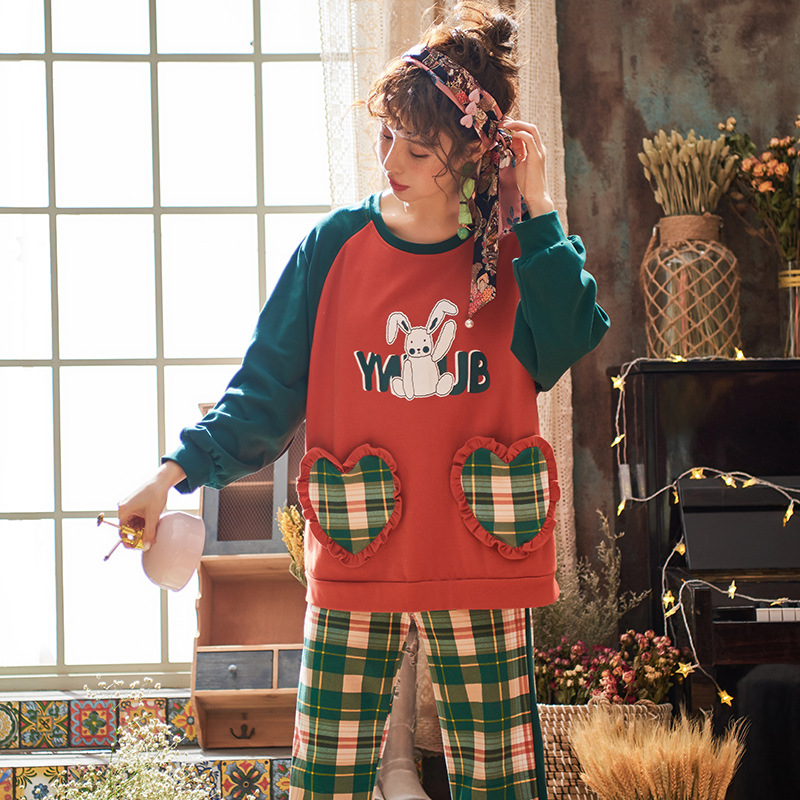 Cute Rabbit Print Pyjama Women's Cotton Long-sleeved Sweet Plaid Pants Girl Two-piece Set Spring Autumn Tracksuit New Year Gifts 27