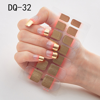 14pcs/sheet Glitter Gradient Color Nail Stickers Nail Wraps Full Cover Nail Polish Sticker DIY Self-Adhesive Nail Art Decoration 103