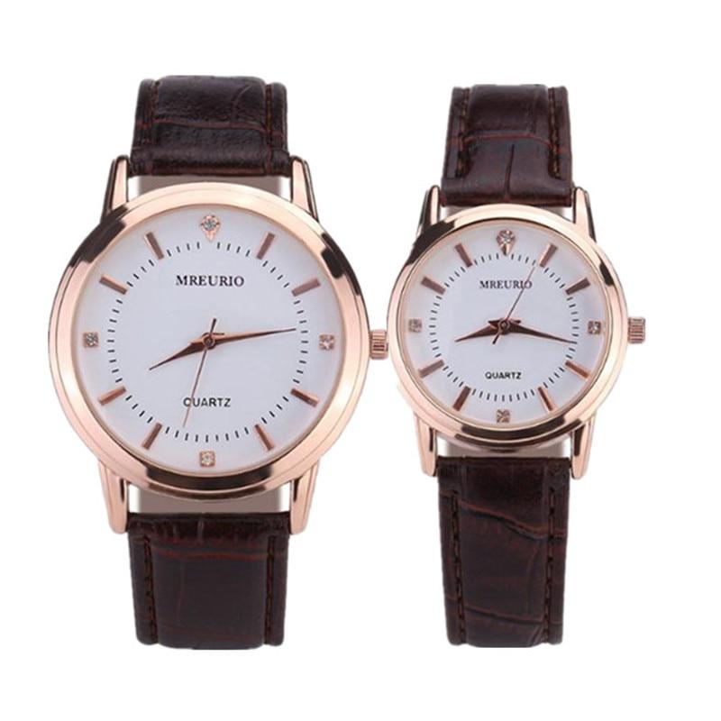 Leather Lovers Watches Simple Elegant 12-digit Roman Black Waterproof Couple Watch Gifts For Men Women Clock Pareja Pair