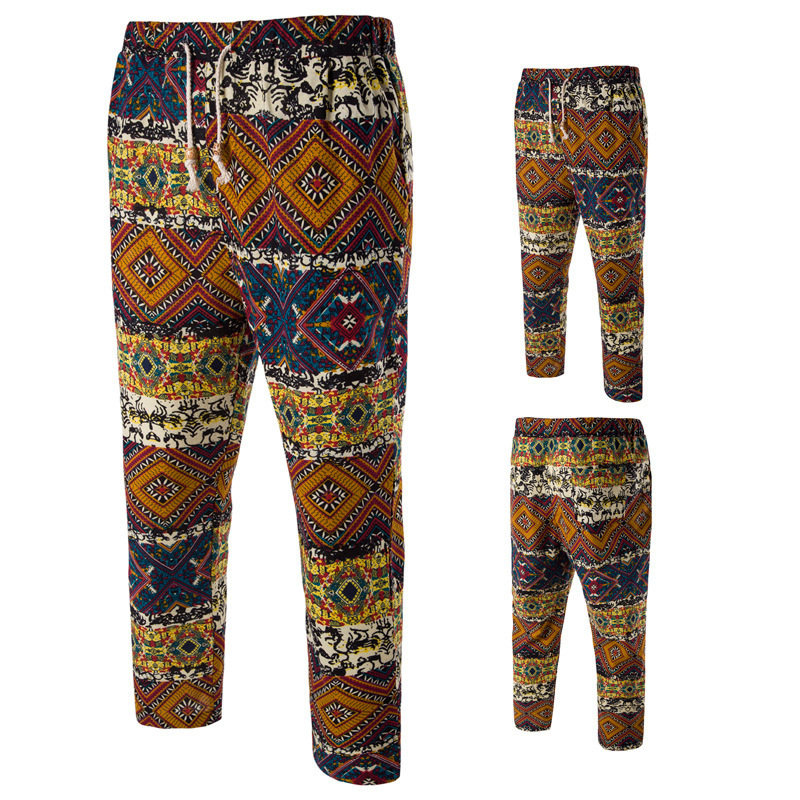 Purchasing Agents Photo Shoot Printed Ethnic-Style Men 9 Points Casual Pants Linen Pant