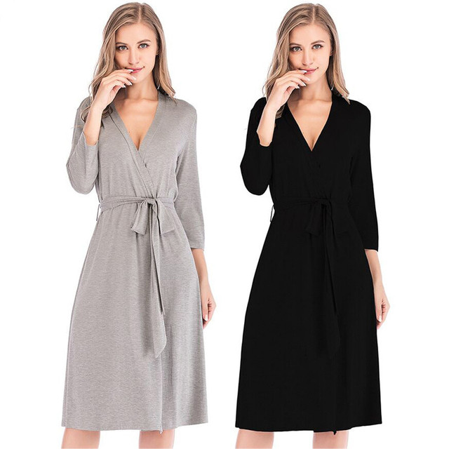 Concise Women Robes Sleepwear Ladies Soild Kimono Night Robes Autumn Winter Nightwear Casual Dressing Gown Female Bathrobe