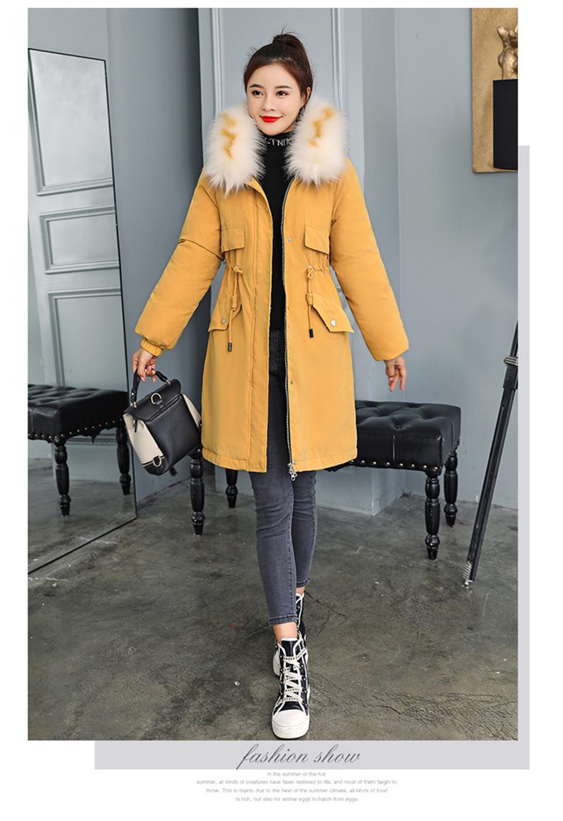 -30 градусов новый 2019 Для женщин зимняя куртка с капюшоном и меховой воротник Женская зимняя обувь Пальто Длинные парки с Меховая подкладка п... 16