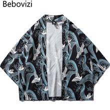 Bebovizi tradycyjne ubrania w stylu kimona nadruk żurawia japońskie Kimono Cardigan koszula Cosplay bluzka dla kobiet mężczyzn Yukata Robe tanie tanio Poliester Odzież azji i pacyfiku wyspy Trzy czwarte Tradycyjny odzieży