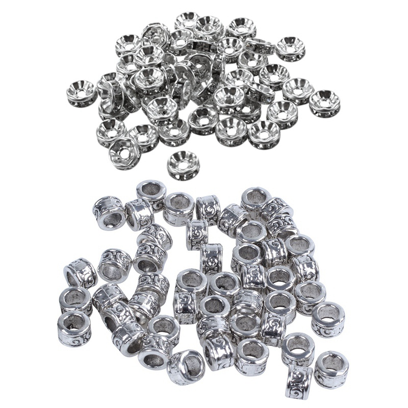 100 Pcs Spacers Bead :50 PCS Swirl Spacer Beads Fit Charm Bracelet With 50 Pcs Clear Rhinestone Rondelle Spacers Beads 8X3Mm Sil