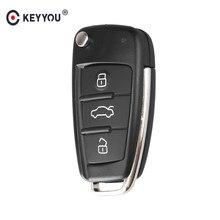 KEYYOU plegable, abatible 3 Botón de carcasa de llave a distancia de coche cubierta Fob para Audi Q7 A3 A4 A6 A6L A8 TT hoja sin cortar Fob reemplazo de carcasa