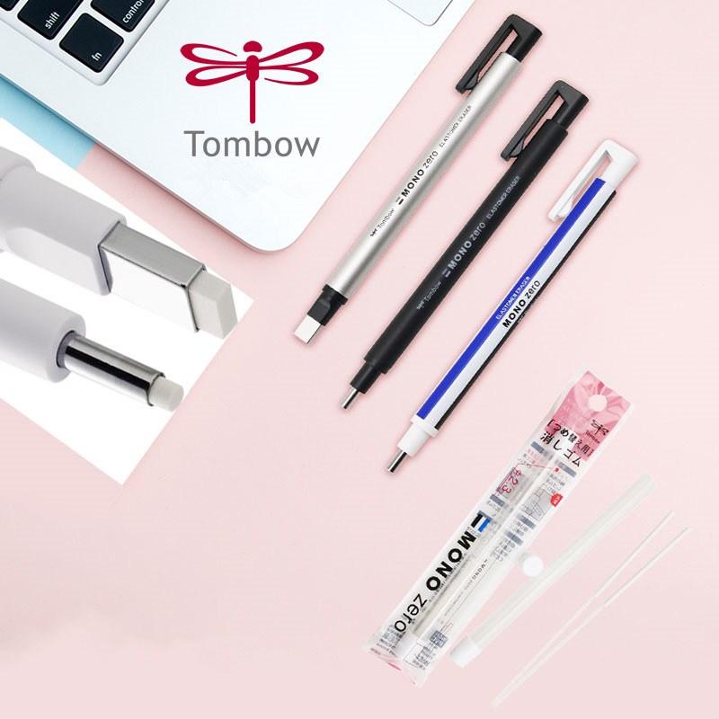 1pc Mechanical Eraser With Refill EK-HUR Tombow MONO Zero Refillable Pen Shape Rubber Press Type For Sketch School Stationery