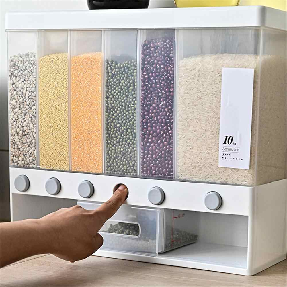 Details about  /Transparent Wall Mounted Automatic Rice Cereal Dispenser Plastic Grain Storage