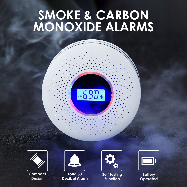 Smoke Carbon Monoxide Detector Alarms With Display Smoke Fire Detector Home Security Alarm Photoelectric Sensor Wireless Alarm