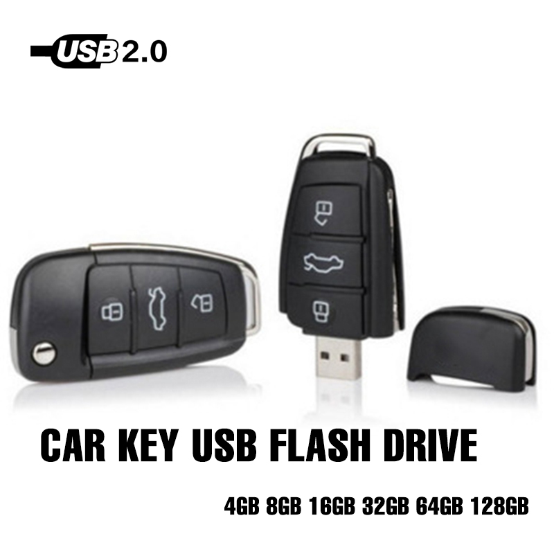 Usb Flash Drive For Audi Car Key Shape Pendrive New Fashion Usb Memory Stick 8GB - 128GB Gift Item Usb 2.0 128GB High Quality