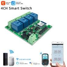 Interrupteur d'éclairage intelligent Wifi, Module 4CH DC 5/12/32V RF433, relais de réception 10A, fonctionne avec Alexa Google Assistant,Tuya Smart Life