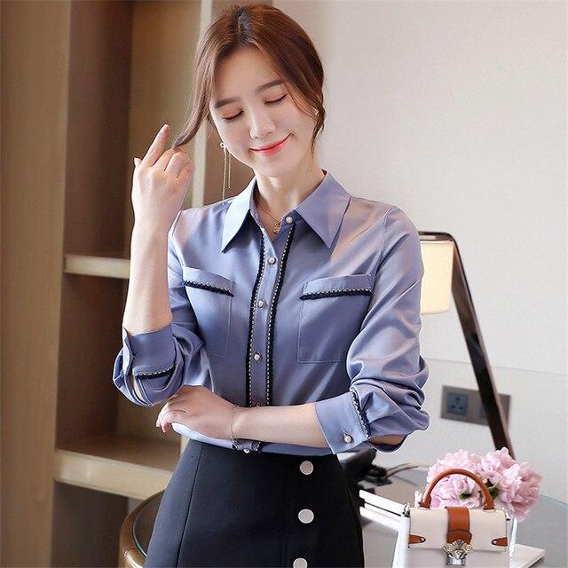 Korean Women Shirts Woman Shirt and Blouse Office Lady Beading Blouses Shirts Women Long Sleeve Satin Shirt Tops Plus Size XXL 4