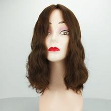 Perruque en soie naturelle pour femmes, cheveux humains européens Remy, couleur noire et brune