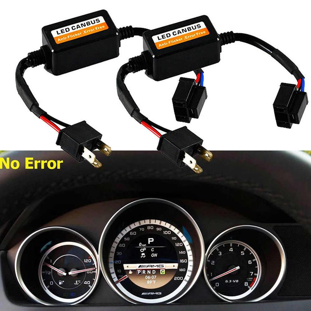 2x H4 LED CANbus ข้อผิดพลาด RESISTOR Canceller Decod Wewd H4 รถถอดรหัสไฟ LED