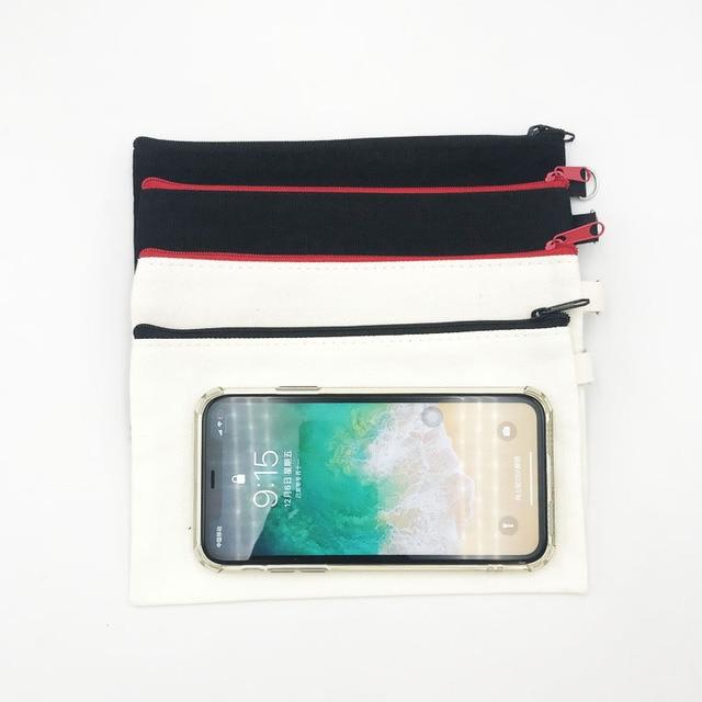 10 sztuk puste płótno Zipper piórniki Pen woreczki bawełniane torby kosmetyczne torebki na makijaż telefon komórkowy kopertówka z organizerem