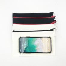 10Pcs In Bianco della Tela di canapa di Matita Della Chiusura Lampo Custodie Penna Borse Multiuso di Cotone Sacchetti Cosmetici borsa di Trucco Sacchetti del telefono Mobile Clutch organizer