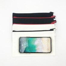 Estuches de lápices con cremallera de lona en blanco, 10 Uds., bolsas de algodón para cosméticos, bolsas de maquillaje, organizador de embrague para teléfono móvil