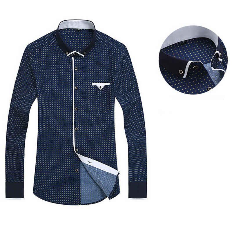Nowe modne męskie luksusowe stylowe Casual Dress Slim koszula typu Slim Casual z długim rękawem