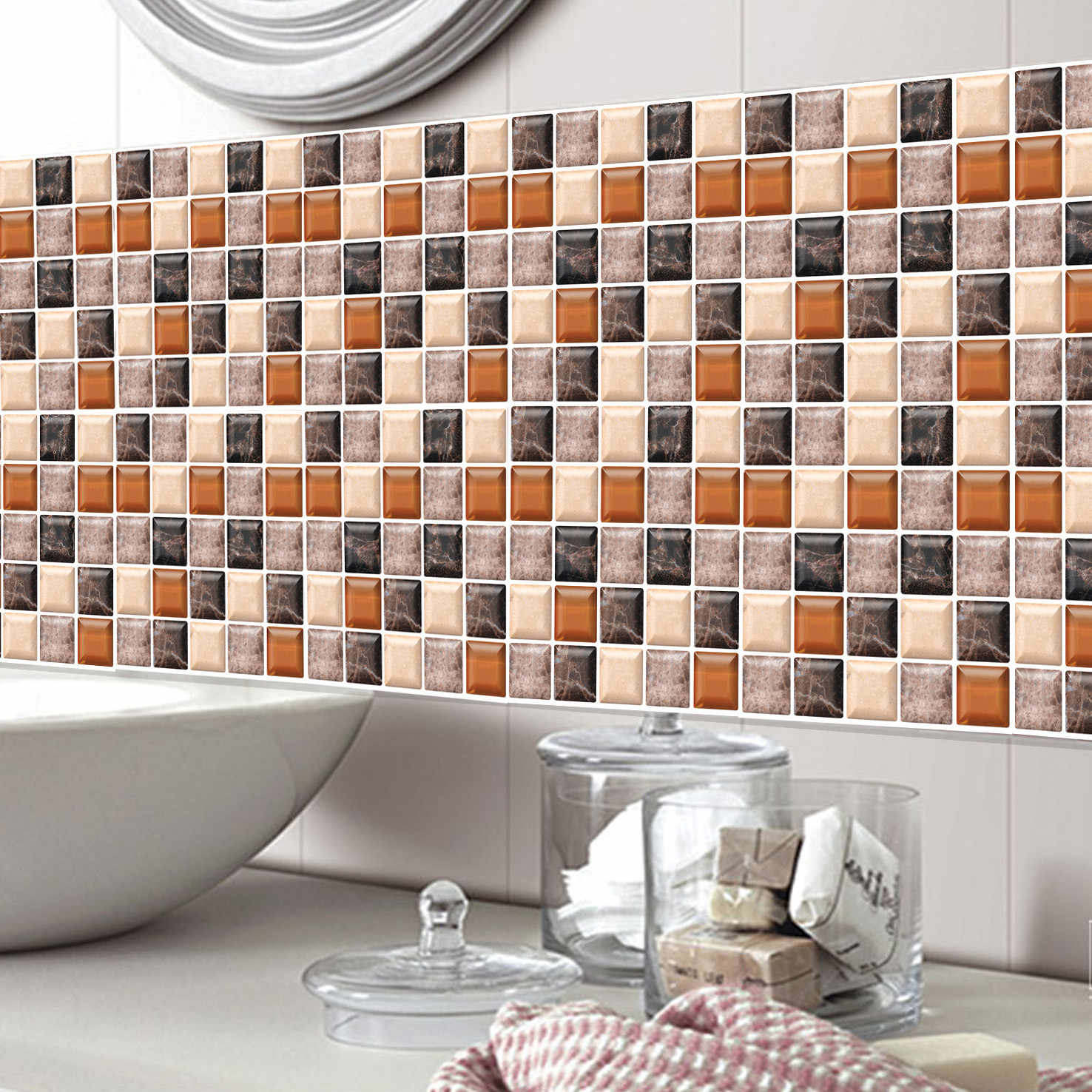- Kitchen Bathroom 3d Stickers Waterproof Self Adhesive Mosaic Wall
