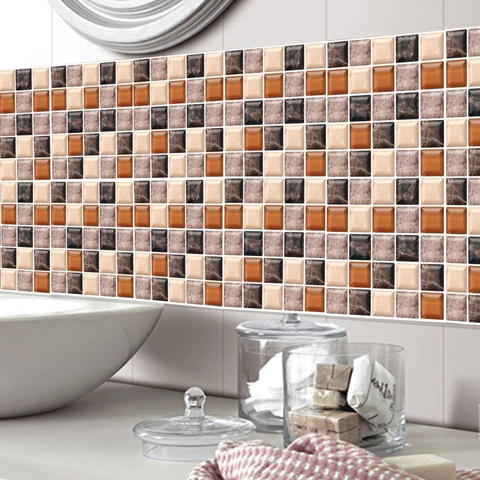 6Pcs 3D Self Adhesive Mosaic Tile Sticker Kitchen Bathroom Wall Stickers Decor